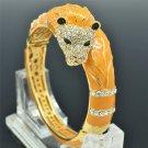 Stunning Yellow Enamel Animal Lion Bracelet Bangle Rhinestone Crystals SKCA2074L