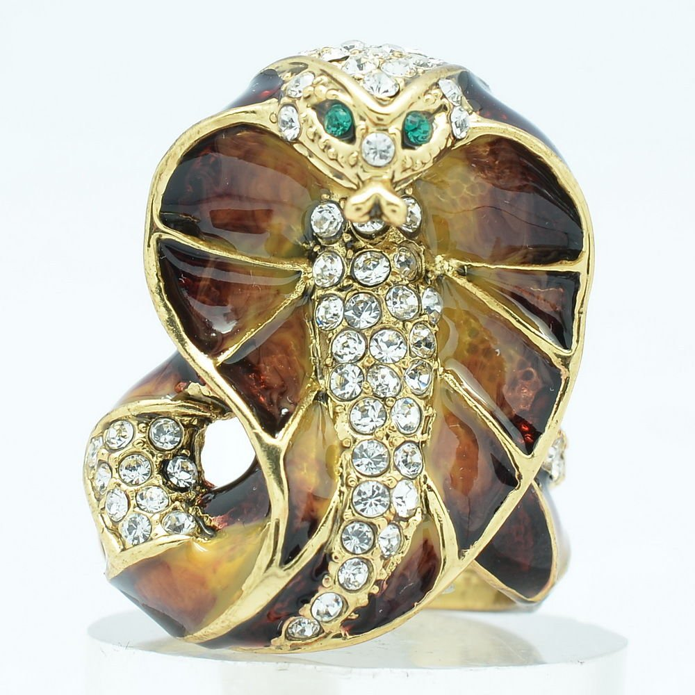 Swarovski Crystals Brown Enamel Cobra Snake Cocktail Ring Size 8# SRA2172