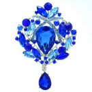 "Teardrop Sea Blue Flower Brooch Broach Pin 3.5"" w/ Rhinestone Crystals 4082"