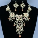 Topaz Swarovski Crystals Faux Pearl Necklace Earring Set Jewelry set 624101