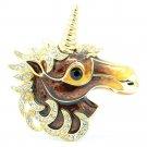 Swarovski Crystal Enamel Brown Unicorn Horse Brooch Broach Pin Accessories 4514