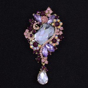 Retro Women Jewelry Purple Flower Brooch Broach Pin Drop Rhinestone Crystal 4823