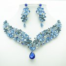 Sea Blue Flower Necklace Earring Jewelry Sets Tear Drop Rhinestone Crystals 6098