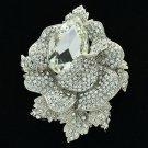 Wedding Bridal Clear Flower Rose Brooch Broach Pins Drop Rhinestone Crystal 5840