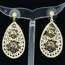 Golden Teardrop Flowers Cutout Pierced Earrings Pendant Rhinestone Crystal 27742