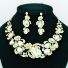 Flower Fruit Necklace Earring Sets Rhinestone Crystals Jewelry Accessories 5396