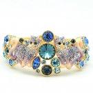 High Quality Swarovski Crystals Purple 2 Kitty Cat Bracelet Bangle Cuff 2095M