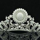 Clear Rhinestone Crystal Sunflower Leaf Tiara Crown Wedding Bridal Jewelry 5361R