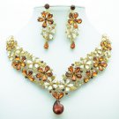 Art Deco Brown Flower Necklace Earring Jewelry Set Drop Rhinestone Crystal 6098