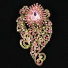 "Vogue Pink Floral Flower Brooch Broach Pin 3.1"" W/ Rhinestone Crystals 4891"
