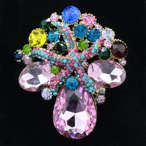 """Multi Color Starfish Flower Pendant Brooch Pin 2.2"""" by Rhinestone Crystals 4995"""