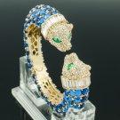 Rhinestone Crystals H-Quality Blue Acrylic 2 Leopard Bracelet Bangle Cuff 00988