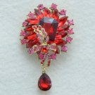 "Vogue Drop Red Flower Brooch Broach Pin 3.5"" w/ Rhinestone Crystals 4783"