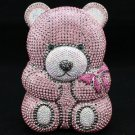High Quality Pink Bear Clutch Evening Bag Purse Handbag W/ Swarovski Crystals