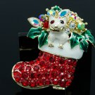 Gorgeous Red Christmas Dog Socks Brooch Pin Enamel Rhinestone Crystal Women 4812