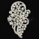 """Clear Rhinestone Crystals Bow Flower Brooch Broach Pin Wedding Bridal 2.9"""" 5630"""