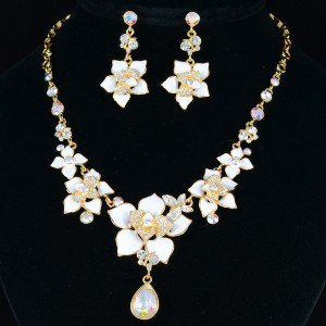 Clear Swarovski Crystals White Flower Butterfly Necklace Earring Set SNA2899-2