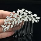 Clear Wedding Flower Hair Comb Tiaras Rhinestone Crystal Jewelry For Women 2235R