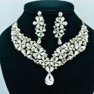 Bridal Wedding Flower Necklace Earring Jewelry Sets Drop Rhinestone Crystal 6098