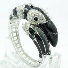High Quality Black Bird Toucan Bracelet Bangle Cuff W/ Swarovski Crystals 1946M