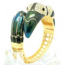 High Quality Green Bird Toucan Bracelet Bangle Cuff W/ Swarovski Crystals 1946M