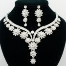 Fabulous Flower Bud Necklace Earring Jewelry Sets Rhinestone Crystal Women 00329