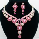 Rhinestone Crystals Charming Pink Flower Buds Necklace Jewelry Sets Party 00329