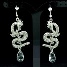 New Dangle Cute Dragon Pierced Earring W/ Clear Rhinestone Crystals FA2853