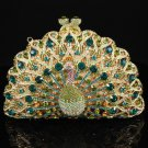 Fabulous Swarovski Crystals Green Bird Peacock Clutch Evening Bag Handbags Purse