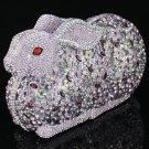 Charming Cute Purple Bunny Rabbit Handbag Clutch Evening Purse Swarovski Crystal