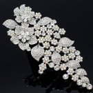 "Large Clear A/B Rhinestone Crystals Flower Brooch Pin 6.5""  Wedding Jewelry 3773"