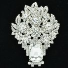 Brilliant Rhinestone Crystals Clear Flower Brooch Pin Pendant For Wedding 6411