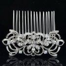 Cute Clear Flower Hair Comb Hair Jewelry Bridal Party Rhinestone Crystals 14011R