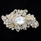 """Bridal Wedding Chic Drop Flower Brooch Pin 3.7""""Rhinestone Crystal Gold Tone 4514"""