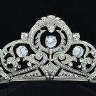 Stunning Bridal Flower Tiara Crown Clear Zircon Rhinestone Crystals 24356R