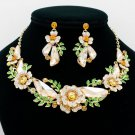 Topaz Rhinestone Crystals Drop Leaves Flower Necklace Earring Jewelry Sets 6703
