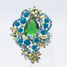 "Imperial Style Green Rhinestone Crystals Drop Flower Brooch Broach Pin 3.0"" 6039"