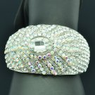 Trendy Clear Rhinestone Crystal Peacock Feather Bracelet Bangle Cuff Party E1569