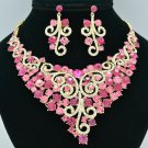 Gorgeous Flower Necklace Earring Set w/ Pink Rhinestone Crystals 00621