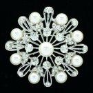 Nice Bride Bridal Faux Pearl Round Flower Brooch Broach Pin Rhinestone Crystals