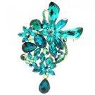 "Vivid Chic Blue Ziron Drop Flower Brooch Broach Pin 3.4"" Rhinestone Crystal 5997"