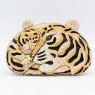 Borwn Swarovski Crystals Panther Leopard Clutch Women Evening Bag Purse Handbag