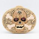 Hi-Q Skull Bone Clutch Handbag Purse Bag Evening Party Swarovski Crystals JD1270