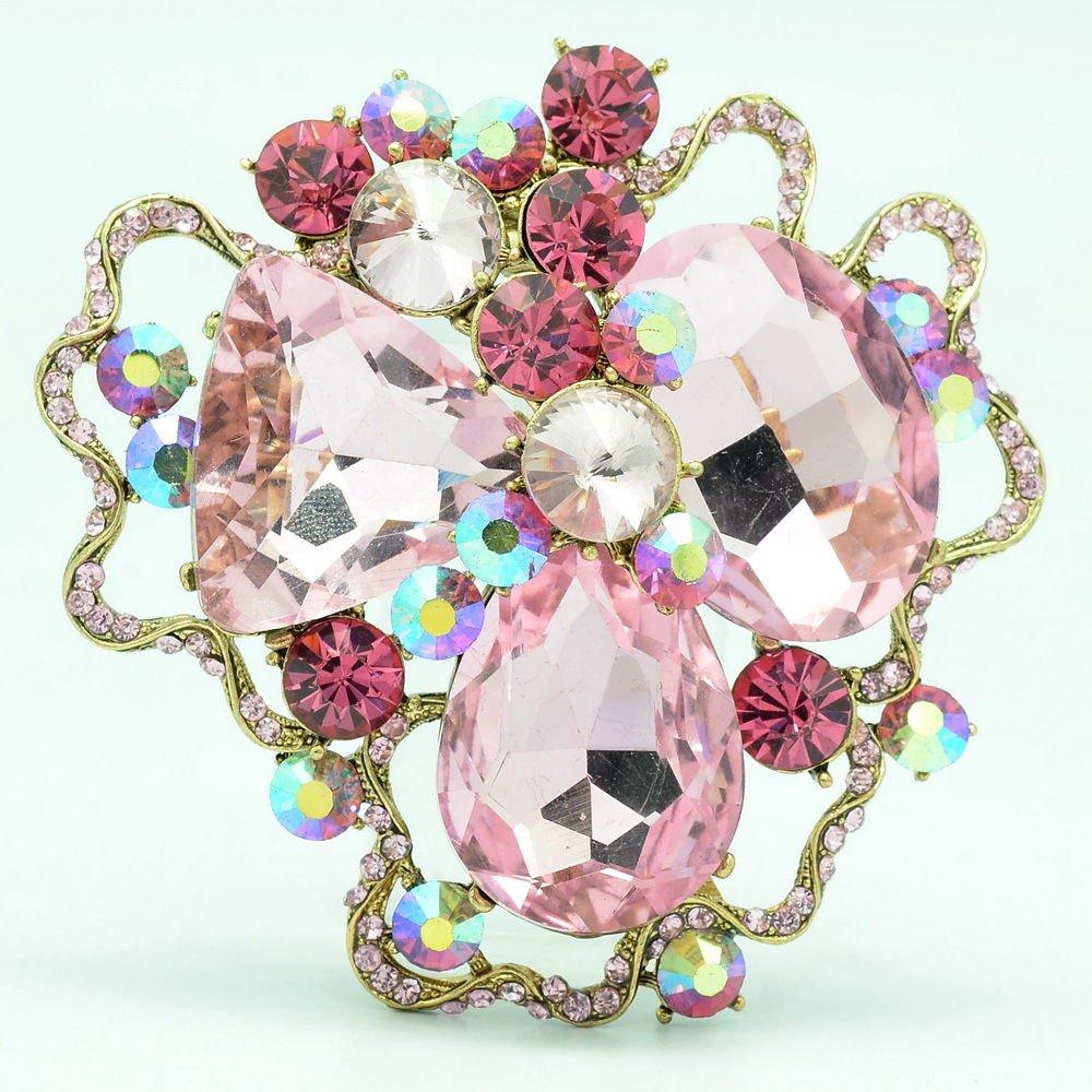 Wonderful Spring Jewelry Pink Rhinestone Crystal cloud Flower Brooch Pin 8806457