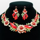 Red Rhinestone Crystals Drop Leaves Flower Necklace Earring Jewelry Sets NC-6703