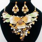 Topaz Leaf Flower Necklace Earring Set Teardrop Rhinestone Crystal Women Jewelry
