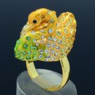 Swarovski Crystals H-Quality Yellow Swan Cocktail Ring Sz Adjustable SR1917A