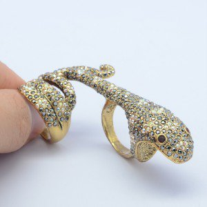 VTG Style Gray A/B Swarovski Crystals Animal Boa Snake Cocktail Ring Sz8# SR2103