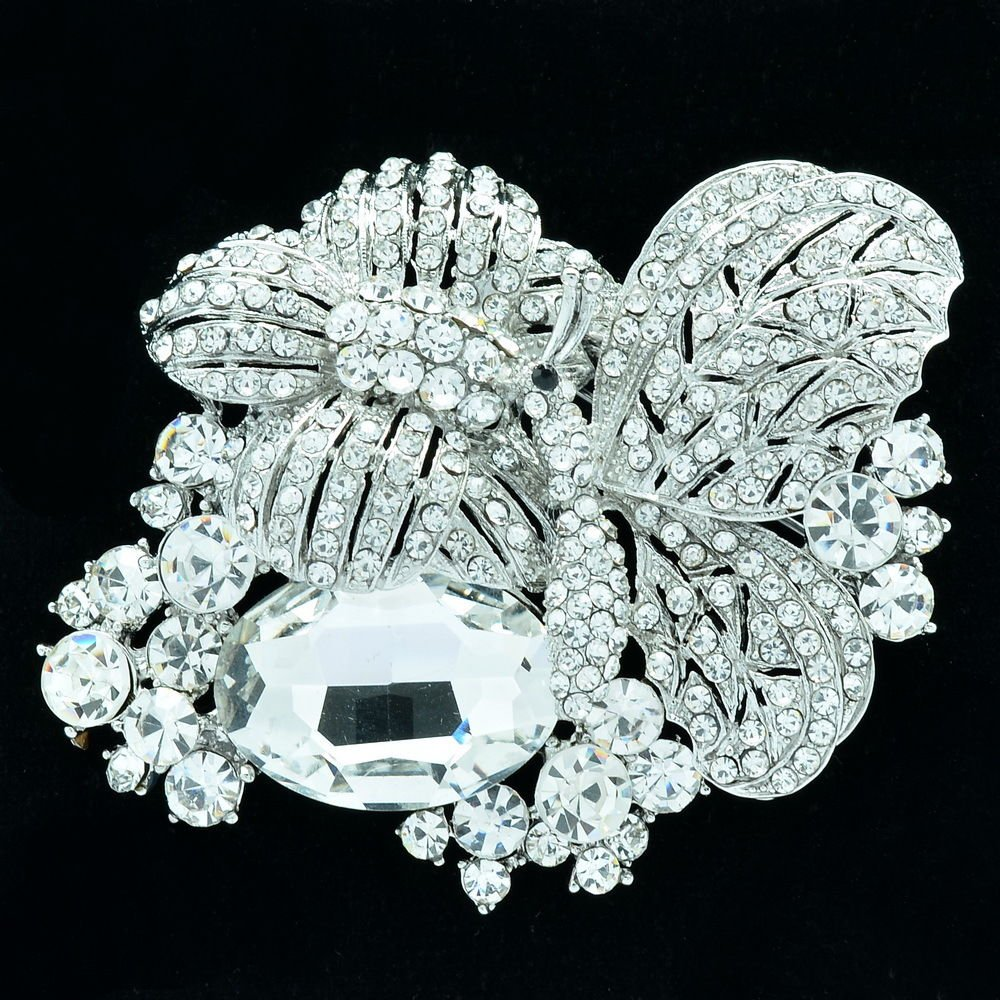 Vgoue Animal Clear Flower Butterfly Brooch Pin W/ Rhinestone Crystals 6407