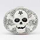 Hi-Q Clear Swarovski Crystals Skull Bone Clutch Handbag Purse Bag Evening Party